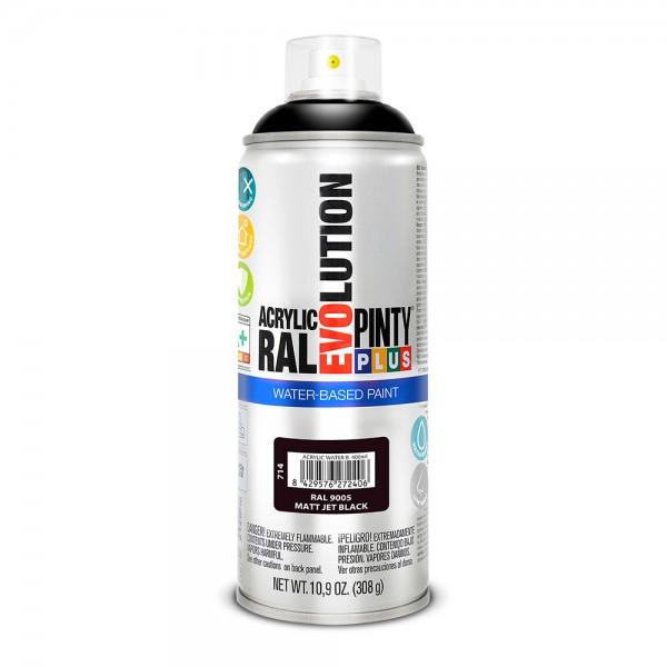 Pintura en spray pintyplus evolution water-based 520cc ral 9005 negro intenso mate
